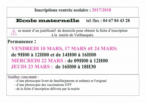 ecol maternelle inscription