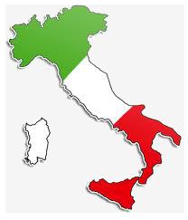 italie - drapeau dans botte-